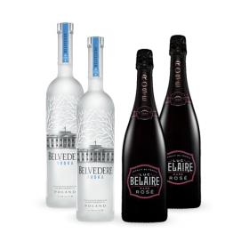 2 x Luc Belaire Rosé + 2 x Belvedere Vodka