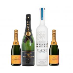 Moët Nectar Magnum 1,5 L & Belvedere Vodka 1,75 L & 2x Veuve Clicqout Brut 75 CL